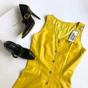Gianni Versace • RARE vintage leather yellow dress